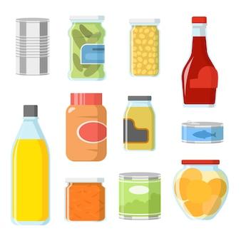 Verschillende soorten voedsel in blikjes en potten illustraties set