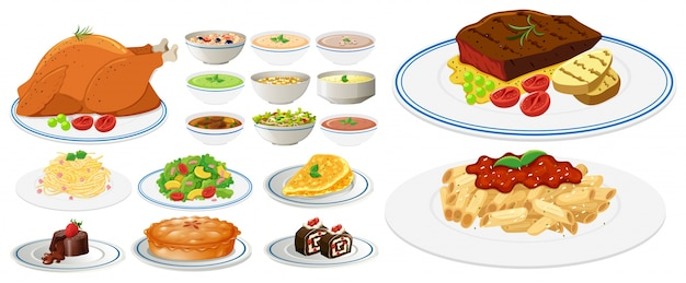 Verschillende soorten voedsel op borden