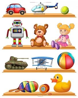 Verschillende speelgoed op houten planken