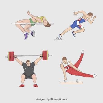 Verschillende sportatleten in handgetekende stijl