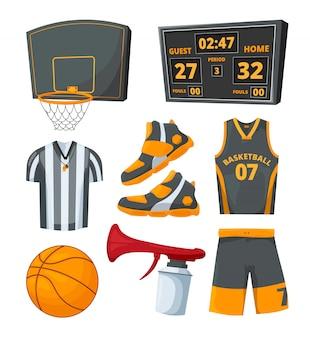 Verschillende sportsymbolen van basketballen.