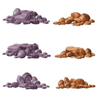 Verschillende stenen geïsoleerd