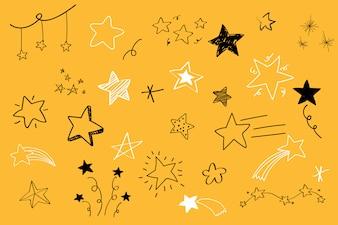 Verschillende sterren doodle collectie vector