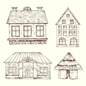 Verschillende stijl hand getrokken huizen vector set