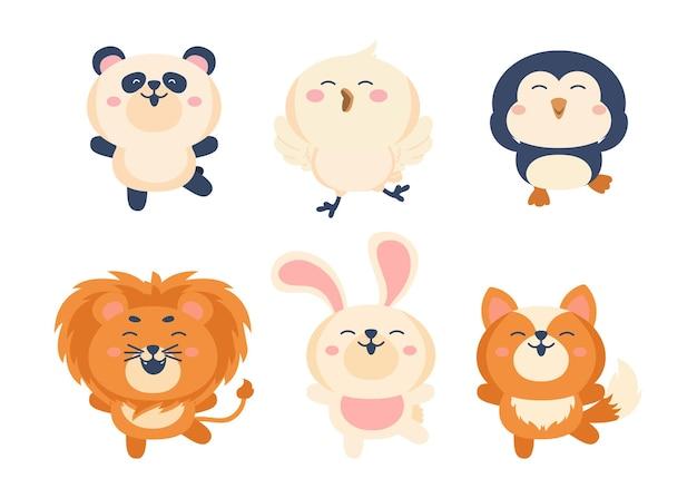 Verschillende stijl van wilde dieren op een transparant