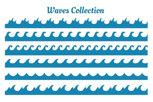 Verschillende stijl zee golven patronen set van zes