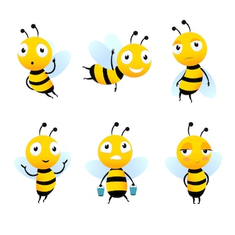 Verschillende stripfiguren van bijen met honing