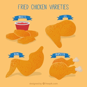 Verschillende stukken gebakken kip