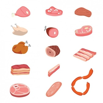 Verschillende stukken van slagerij