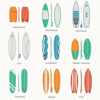 Verschillende surfplanken. surftafels en plankencollectie.