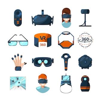 Verschillende symbolen van virtual reality