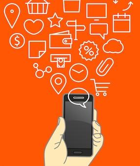 Verschillende techno-iconen vloeien over in de moderne gadgets. lineart vectorillustratie