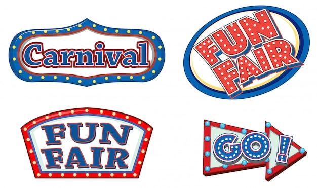 Verschillende teken sjabloon voor carnaval