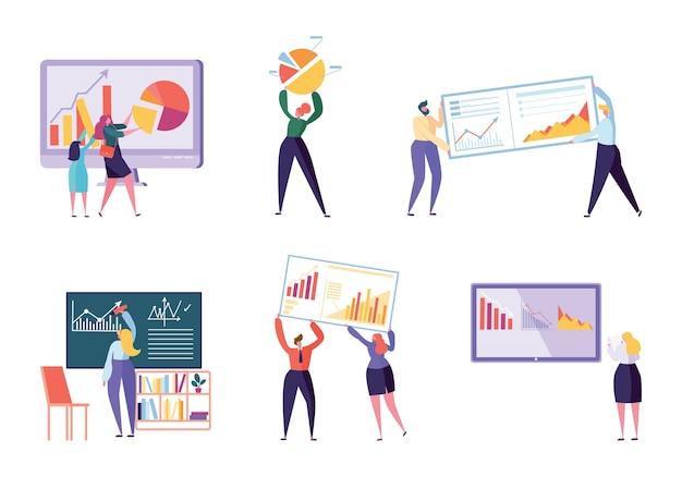 Verschillende tekenset business analyst. mensen maken grafieken en analyseren bedrijfsgegevens. platte vector cartoon afbeelding kantoormedewerker werken infographic, analyse evolutionaire schaal