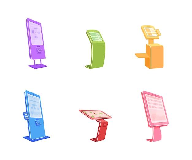 Verschillende terminals platte kleur objecten set. digitale automaten met touchscreens. zelfbedienende kiosk geïsoleerde cartoon illustratie collectie