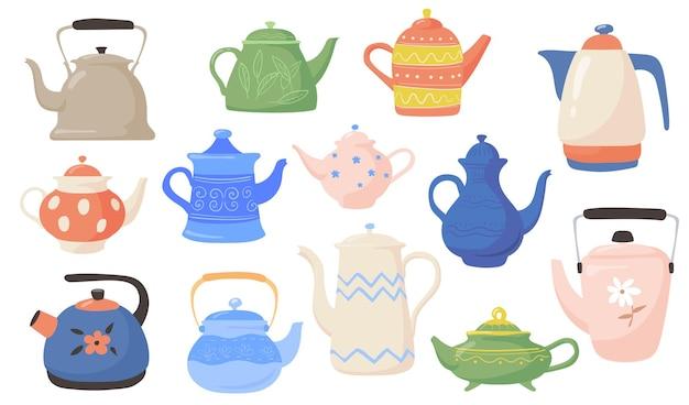 Verschillende theepotten en ketels platte illustraties set