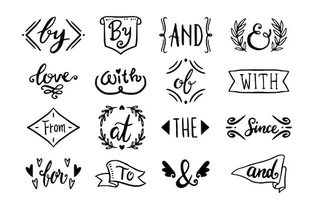 Verschillende trefwoorden en ampersandscollectie
