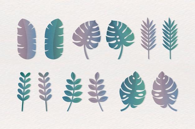 Verschillende tropische bladeren instellen