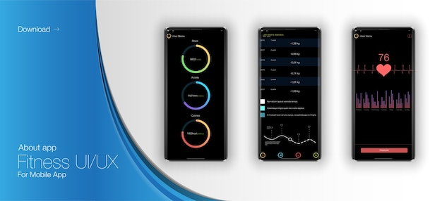 Verschillende ui-, ux-, gui-schermen fitness-app en platte webpictogrammen voor mobiele apps, inclusief responsieve website.