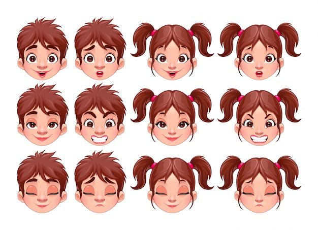 Verschillende uitdrukkingen van de jongen en meisje geïsoleerd vector tekens