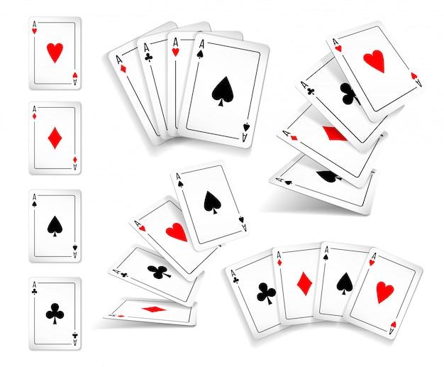 Verschillende varianten set van vier kaarten met azen