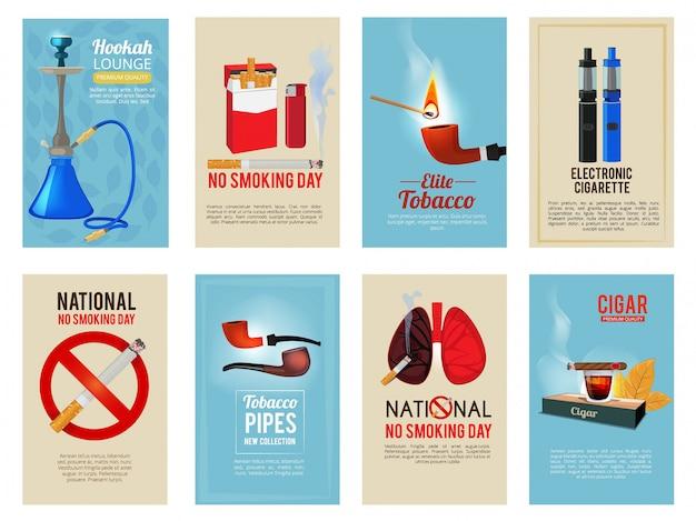 Verschillende vectorkaarten met illustraties van diverse hulpmiddelen voor rokers