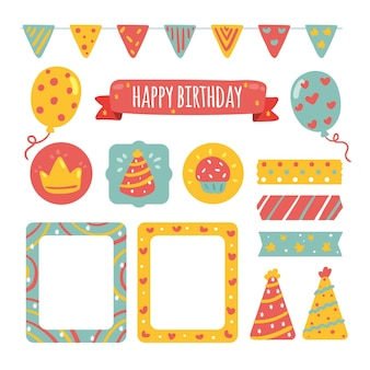 Verschillende verjaardags decoratieve plakboekelementen instellen