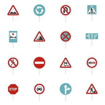 Verschillende verkeerstekens geplaatst vlakke pictogrammen