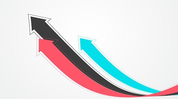 Verschillende verweven verlengde pijlen symboliseren de moraal van groei.