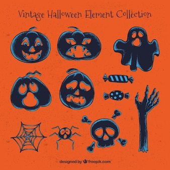 Verschillende vintage halloween-elementen