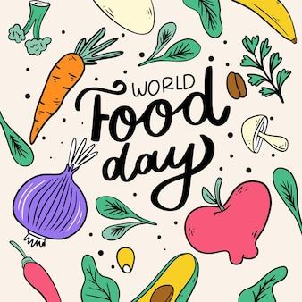 Verschillende voedingsmiddelen geïllustreerd voor wereldvoedseldag