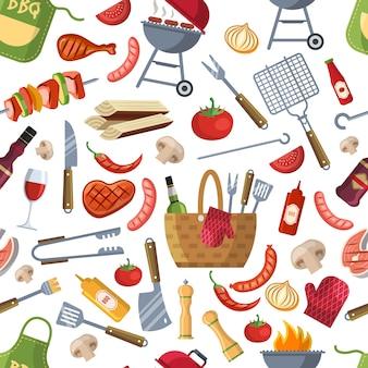 Verschillende voedingsmiddelen voor bbq-feest patroon