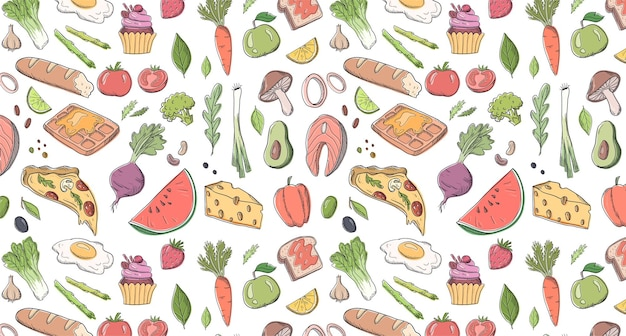 Verschillende voedsel hand getekende vector patroon illustratie