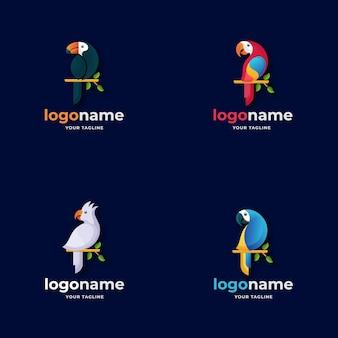 Verschillende vogelpapegaai logo gradiëntstijl voor natuurbehoud natuurreizen