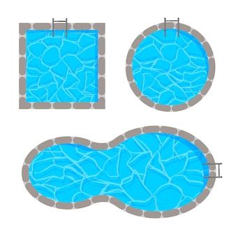 Verschillende vorm van zwembadsjabloon bovenaanzicht
