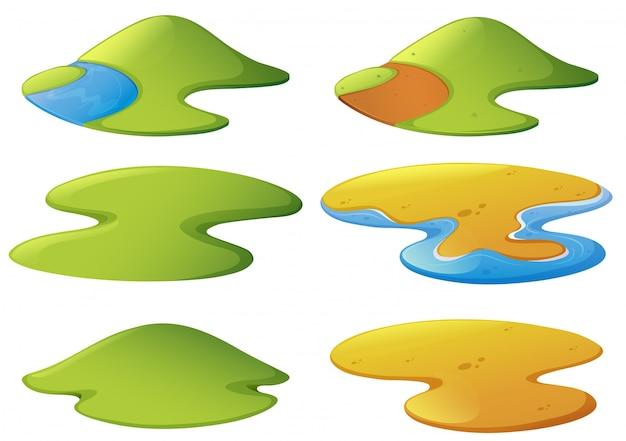 Verschillende vormen van bergen en stranden