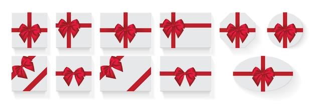 Verschillende vormen van dozen met een rode strik