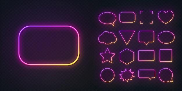 Verschillende vormen van gloeiende gradiënt paars gele neon frames