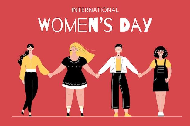 Verschillende vrouwen staan in een rij en houden elkaars hand vast. internationale vrouwendag. vrouwelijke solidariteit