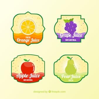 Verschillende vruchtensap labels in plat design