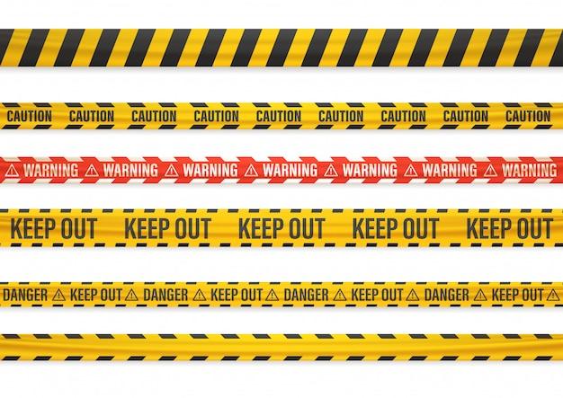 Verschillende waarschuwingstapes die op wit worden geïsoleerd