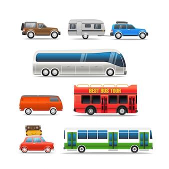 Verschillende wegvoertuigen vector-illustraties