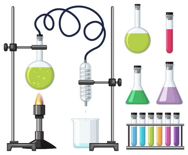 Verschillende wetenschappelijke containers en apparatuur