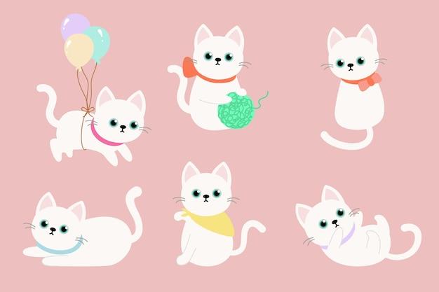 Verschillende witte kat stripfiguren instellen