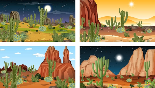 Verschillende woestijnboslandschapscènes met verschillende woestijnplanten