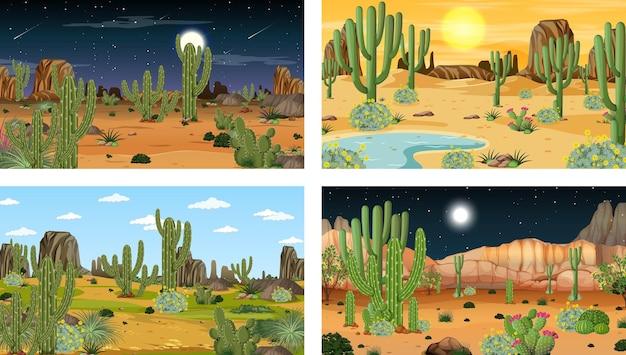 Verschillende woestijnbostaferelen met dieren en planten