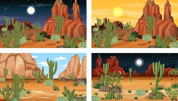 Verschillende woestijnbostaferelen met verschillende woestijnplanten