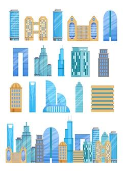 Verschillende wolkenkrabbers illustraties set