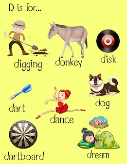 Verschillende woorden voor letter d