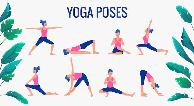 Verschillende yoga houdingen ingesteld. vrouwelijke yoga vectorillustratie. gezonde levensstijl.
